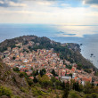 Overview of Town of Taormina and Mediterranean Sea — Stock Photo #58013943