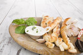 Pizza breadsticks with ingredients. — Stock Photo