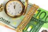 Time, money, jewelry — Stock Photo