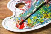 Colorful acrylic paints — Stock Photo