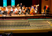 The work on the sound. sound engineering console. — Stock Photo