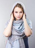 Beautiful blonde in a blue shawl. Portrait of fashionable girl. Portrait of a young blonde. Beautiful blonde. tender girl — Fotografia Stock