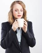 Tea party. Isolated on white. Portrait of a beautiful blonde.coffee break .woman isolated on white background studio portrait. — Stock Photo