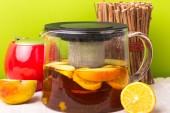 Glass teapot with black tea. Ginger tea with cinnamon. Tea for Health — 图库照片