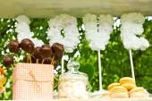 French macaroons.Candy bar.Wedding feast. Wedding sweets — Stock Photo