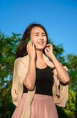 Girl use mobile phone — Stock Photo