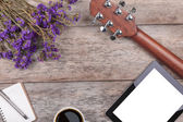 Compose a song on a wooden — Stock Photo