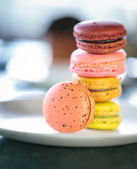 A french sweet delicacy, macaroons variety closeup. — Stock Photo