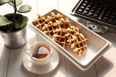 Tea Time with Waffle afternoon — Stock Photo