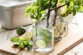 Lime lemon soda mint rosemary fresh drink summer — Stock Photo