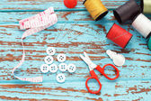 Needle thread sewing tailor thimble buttons scissors repair — Stock Photo