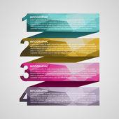 Création infographique de numérotée coloré sous forme de rubans. élément de design. — Vecteur
