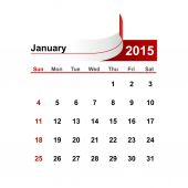 Vector simple calendar 2015 year january month. — Stock Vector