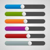 Vector UI sliders colors set. Volume controls. Interface elements. — Stock Vector