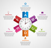 Abstract infographic with colorful ribbons and clock in the centre. Design template. — Stock Vector