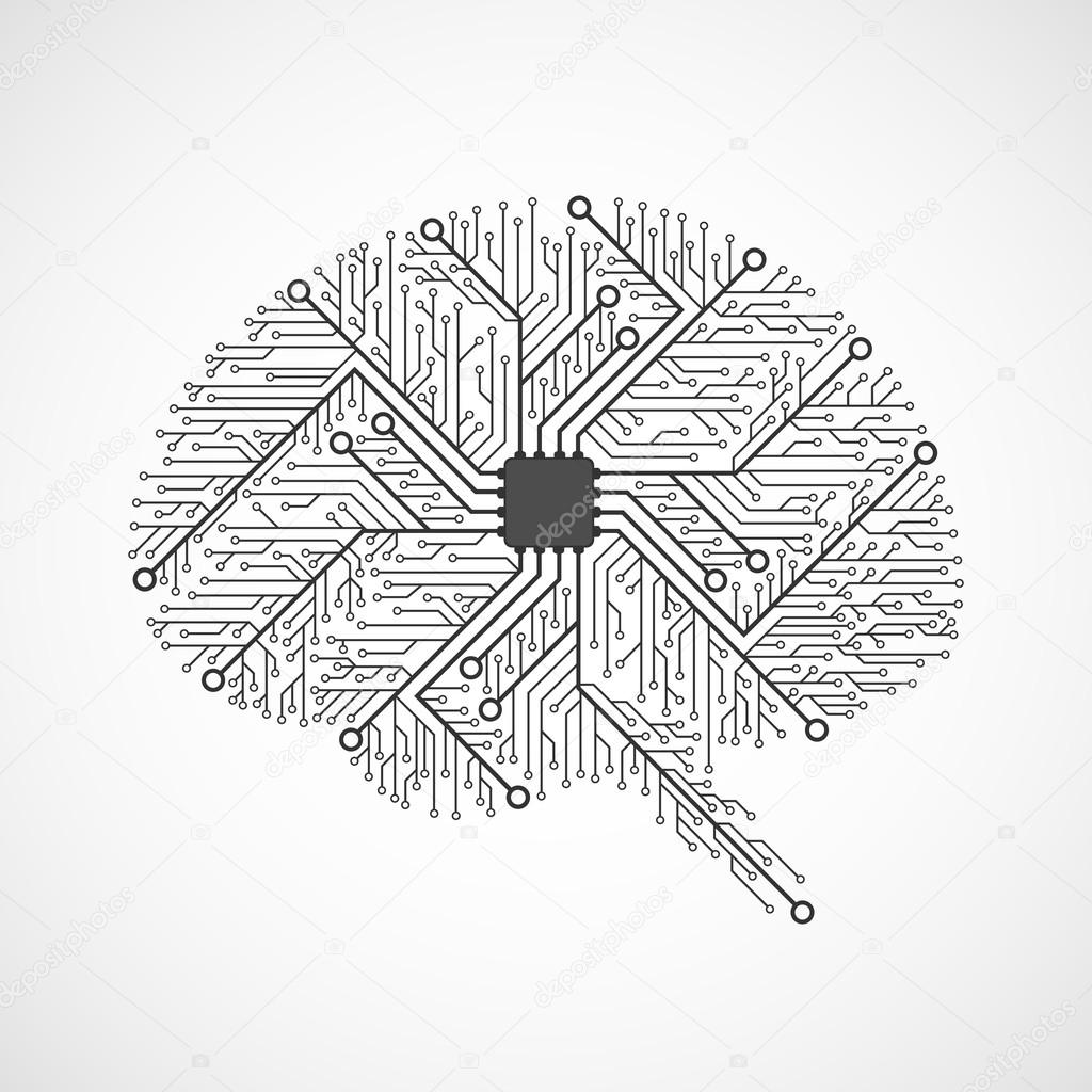 技术的大脑.电路板.矢量背景