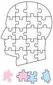 Jigsaw Puzzle Head — Stock Vector