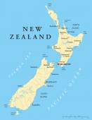 New Zealand Political Map — Stock Vector
