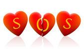Three Hearts SOS — Stock Vector