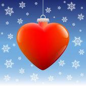 Christmas Ball Heart Snow — Stockvektor