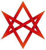 Red Unicursal Hexagram 3D — Stock Vector