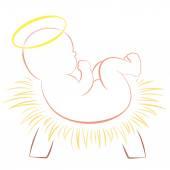 Baby Jesus Christmas Crib White — Stock Vector