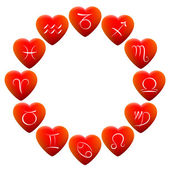 Astrology Signs Hearts — Stock Vector
