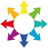Arrows Centrifugal Rainbow Colors — Stock Vector
