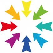 Darts Centripetal Rainbow Gradient — Stock Vector