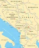 Central Balkan Political Map — Stock Vector