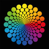 Flower Rainbow Gradient Circles Black — Stock Vector