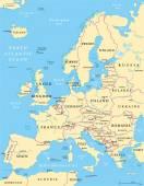 Europas politiska karta — Stockvektor