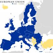 European Union Countries Political Map Outline — Stockvektor