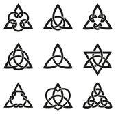 Nine Celtic Triangle Knots — Stock Vector