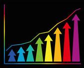 Increase Diagram Colors Arrows Graph — Stock Vector
