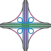 Road Junction Cloverleaf Interchange Colors — Stockvector