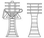 Djed Pillars Outline — Stock Vector