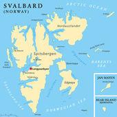 Politische Karte von Svalbard — Stockvektor