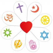 Religions Peace Flower Heart Symbol — Stock Vector