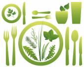 Vegetarian Meal Cutlery Culinary Herbs — Wektor stockowy