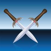 Crossed Swords Pirates Blue Sea — Stock Vector