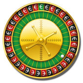 Euro Roulette Wheel Symbol Win — Stock Vector