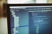Backend sourcecodes on computer monitor — Stock Photo