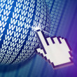 Cursor clicking www globe in cyberspace. — Stock Photo #61141593
