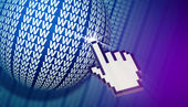 Cursor clicking www globe in cyberspace. — Stock Photo