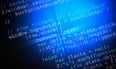 Web page generic javascript code on computer monitor — Stock Photo