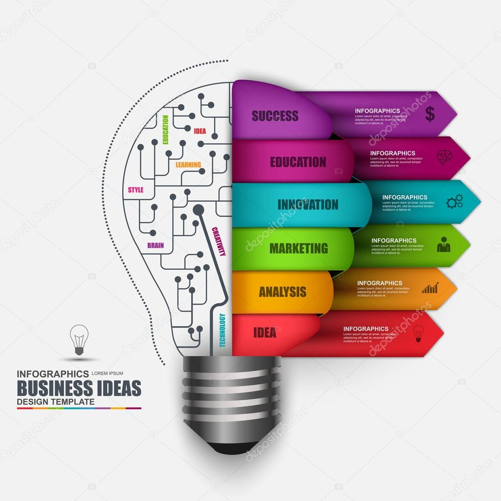 Infographic business light bulb vector design template ...
