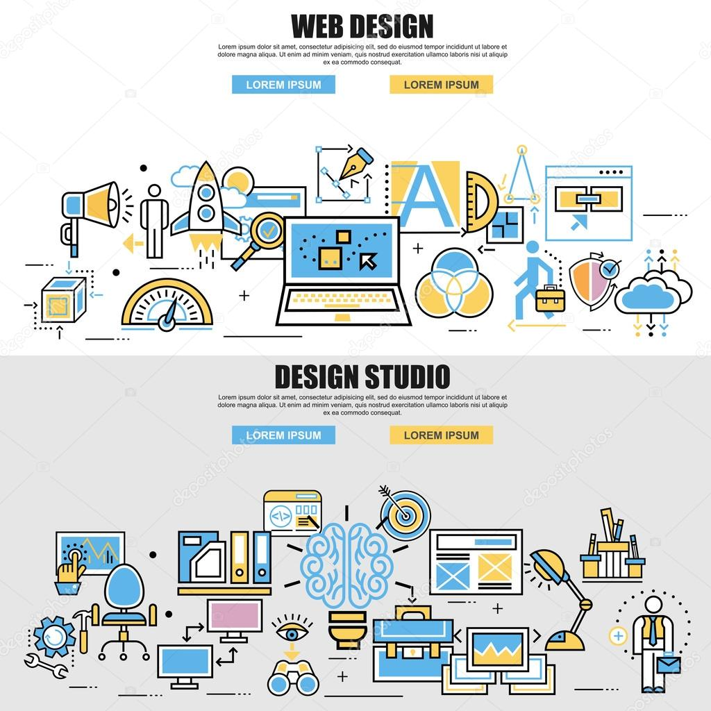 flat design style modern vector illustration concept design studio digital marketing management brainstorming big idea program coding web design and - Idea Design Studio
