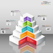 Abstract 3D digital business pyramid Infographic — ストックベクタ