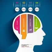 Infographics brain vector design template — Vettoriale Stock